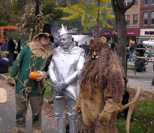 Last Year's Pumpkin festival: Scarecrow - Dad, Tin Man - Eagen, Lion - Me